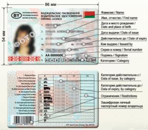 Категории водительских прав в Беларуси
